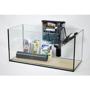 幅45cmスリムタイプ・ブラックシリコン仕様フレームレスガラス水槽と専用ブラック仕様外掛け式フィルタ...