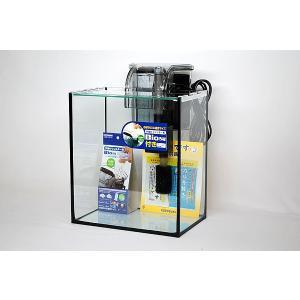 スリム&ハイタイプ・ブラックシリコン仕様25cmフレームレスガラス水槽と外掛け式フィルターのセットで...