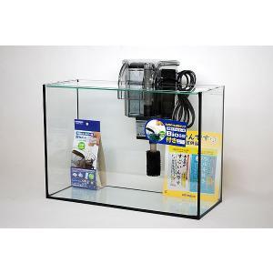 スリム&ハイタイプ・ブラックシリコン仕様40cmフレームレスガラス水槽と外掛け式フィルターのセットで...