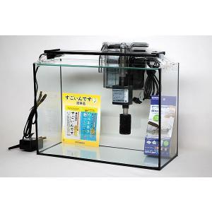 スリム&ハイタイプ・ブラックシリコン仕様40cmフレームレスガラス水槽とハイグレードなLEDライト、...