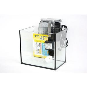 スリム&ワイドタイプ・ブラックシリコン仕様25cmフレームレスガラス水槽と外掛け式フィルターのセット...
