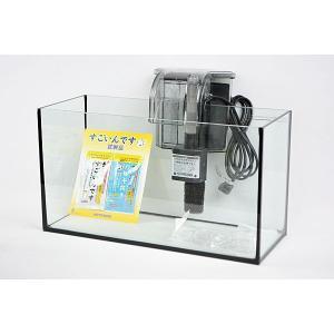 スリム&ワイドタイプ・ブラックシリコン仕様40cmフレームレスガラス水槽と外掛け式フィルターのセット...