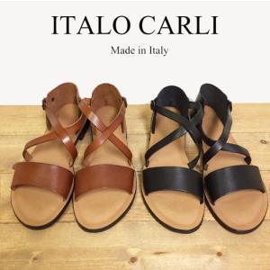 【SALE!!】ITALO CARLI(イタロカルリ)レザークロスバンドサンダル/レザーフラットサンダル|trova