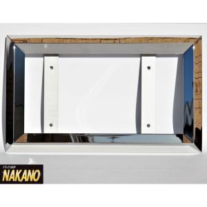◆条件付き送料無料◆ジャストサイズ ナンバー枠 大型 38角オコシ 鏡面ステンレス 迫力満点 余白無しタイプ|truckshop-nakano