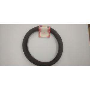 訳あり ハンドルカバー M 38〜39cm しっとり黒/シングル糸赤|truckshop-nakano