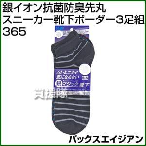 パックスエイジアン 銀イオン抗菌防臭先丸スニーカー靴下ボーダー3足組 PAX-365|truetools
