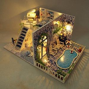 (ユンコ)Yunko ロマンチックな西洋風 エゲ海 ドール ハウス LED ライト 音声 センサー 搭載 ミニチュアハウス キット