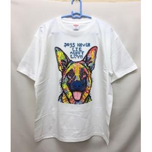 犬 ジャーマンシェパード 大人用 Tシャツ (ネオン3)ドッグ ギフト プレゼント オーナーグッズ ...