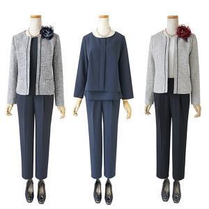 9号-15号 落ち着きのある 大人らしい色使い 動きやすい パンツスーツ セレモニースーツ 入学式 ...