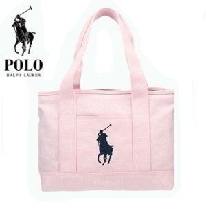 POLO RALPH LAUREN トートバッグ ポケット付き!レディース ポロ 959011A SCHOOL TOTE MD ミディアム キャンバス 手さげバッグ ピンク|try3