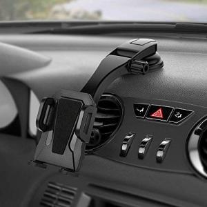 【吸盤式車載スマホホルダー】ユニークな下向きアームによりダッシュボードやガラスに盲点をもたらず、運転...