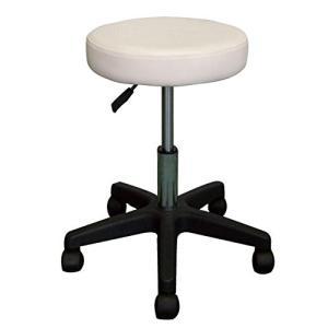 ガス圧昇降式スツール ホワイト エステスツール 作業椅子 丸椅子 美容 理容 送料Bの写真