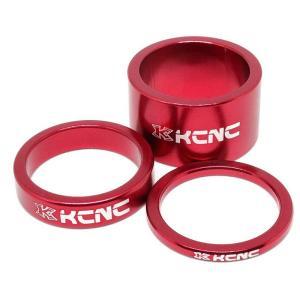KCNC ヘッドセットパーツ スペーサーセット 3/8/20mm レッド trycycle