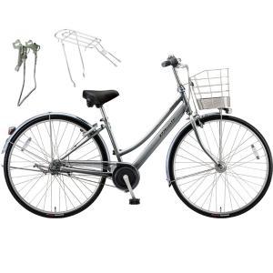 【両立スタンド+後キャリア付】【防犯登録サービス】ブリヂストン シティサイクル自転車 アルベルト A65LB M.スパークルシルバー|trycycle