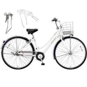 【両立スタンド+後キャリア付】【防犯登録サービス】ブリヂストン シティサイクル自転車 アルベルト A65LB P.シャンパンホワイト|trycycle