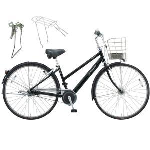 【両立スタンド+後キャリア付】【防犯登録サービス】ブリヂストン シティサイクル自転車 アルベルト A65SB F.ピアノブラック|trycycle