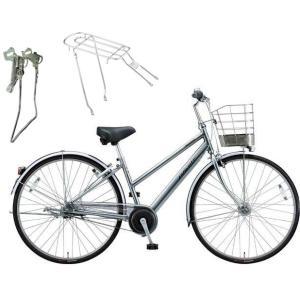 【両立スタンド+後キャリア付】【防犯登録サービス】ブリヂストン シティサイクル自転車 アルベルト A65SB M.スパークルシルバー|trycycle