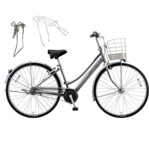 【両立スタンド+後キャリア付】【防犯登録サービス】ブリヂストン シティサイクル自転車 アルベルト A73LB M.スパークルシルバー|trycycle