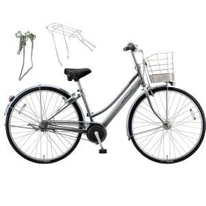 【両立スタンド+後キャリア付】【防犯登録サービス】ブリヂストン シティサイクル自転車 アルベルト A75LB M.スパークルシルバー|trycycle