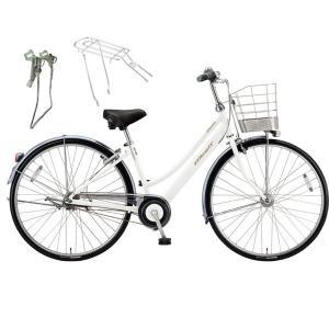 【両立スタンド+後キャリア付】【防犯登録サービス】ブリヂストン シティサイクル自転車 アルベルト A75LB P.シャンパンホワイト|trycycle