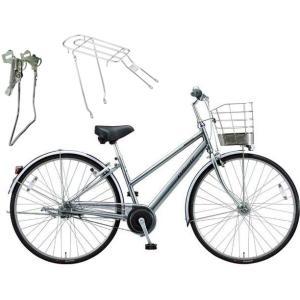 【両立スタンド+後キャリア付】【防犯登録サービス】ブリヂストン シティサイクル自転車 アルベルト A75SB M.スパークルシルバー|trycycle