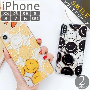 iPhoneXR ケース iPhoneXs Max ケース 8 おしゃれ Plus 7 6s クリアケース スマイル ニコちゃん プラス SMILE アイフォン アイホンカバー  スマホ 黄黒|tsaden