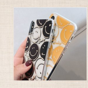 iPhoneXR ケース iPhoneXs Max ケース 8 おしゃれ Plus 7 6s クリアケース スマイル ニコちゃん プラス SMILE アイフォン アイホンカバー  スマホ 黄黒|tsaden|03