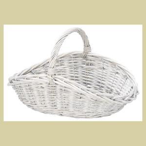 『柳』楕円タイプバスケット「45×28×15cm」(片手持ち)/ヨーロピアングレーの写真