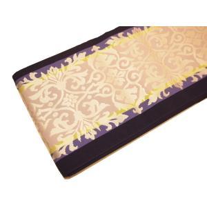 正絹博多織半幅帯「濃紺色の地に薄グレー色の正倉院風模様」