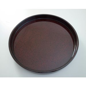 丸盆 木製 尺 ななこ塗黒上|tsugaru-ishioka