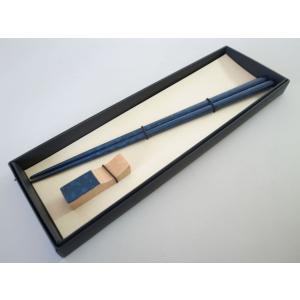 細箸・箸置きセット 迷彩塗ブルー tsugaru-ishioka