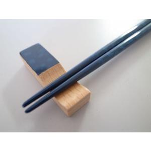 細箸・箸置きセット 迷彩塗ブルー tsugaru-ishioka 02