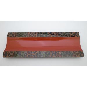 おしぼり乗せ レール型 木製 唐塗呂上|tsugaru-ishioka