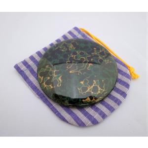 手鏡 巾着付 唐塗梨子地黒上|tsugaru-ishioka