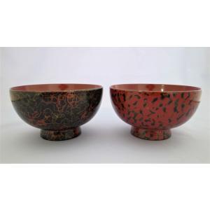 夫婦汁椀 木製 唐塗呂上・赤上 tsugaru-ishioka