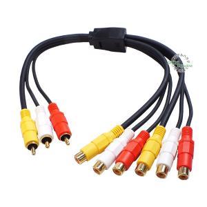 RCA映像音声2分配ケーブル RCA(オス)→RCA(メス)x2 40cm ビデオオーディオケーブル...