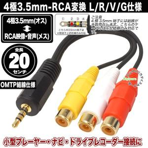 4極3.5mm(OMTP)オス-RCA(メス) 4極3.5mm端子側L/R/V/G仕様 赤・白・黄 ...