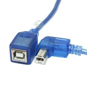 USB2.0(B)(メス)-USB2.0(B)(オス)左L型延長ケーブル/プリンタ/ドライブ/周辺機...