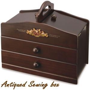 裁縫箱 ソーイングボックス 木製 アンティーク調裁縫道具箱 日本製 tsuhantown