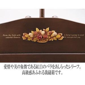 裁縫箱 ソーイングボックス 木製 アンティーク調裁縫道具箱 日本製 tsuhantown 03