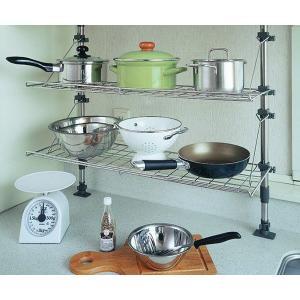 キッチン収納棚 つっぱり棚 キッチンラック ステンレス突っ張り棚|tsuhantown|02