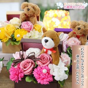 母の日 花 プレゼント ギフト 送料無料 選べるわんちゃん フレグランスフラワー シャボンフラワー わんちゃんのプチカラフルボックス トイプードル|tsukaguchi