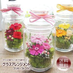 母の日 花 プレゼント ギフト プリザーブドフラワー 送料無料 ガラス器の中にナチュラルアレンジメント グラスフラワー|tsukaguchi