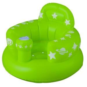 首がすわってから使えるバスチェア バスソファ ポンプアップ ヘッドレスト付き グリーン|tsuki-no-ginka