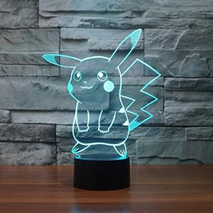 Pokemon Pikachu 3d LEDナイトライト、Elstey 3d Optical Illusion Visualランプ7色タッチテーブルデ|tsuki-no-ginka