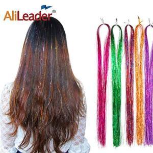 Alileader髪飾り輝くキラキラ ヘアエクステ 髪留め式 編み込み用 糸 ストレート ロング フルカラー ブレイズ ヒップホップダンス髪型 ジャン|tsuki-no-ginka