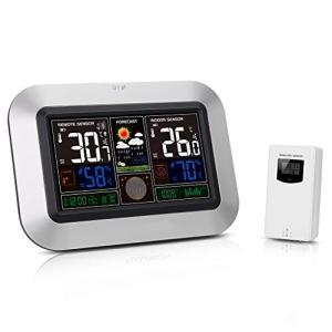 Protmex ワイヤレスカラー気象ステーション、PT3382屋内屋外温度湿度メーター、ラジオコントロールクロックと気圧計|tsuki-no-ginka