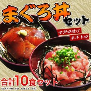 まぐろ マグロ 送料無料 築地の「まぐろ丼セット」 合計10食 鉄火丼5袋・ねぎとろ丼5袋 冷凍 同梱不可|tsukiji-ichiba2