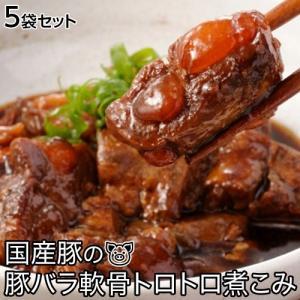 国産豚の 豚バラ軟骨 トロトロ煮込み 200g×5袋 合計1kg 豚なんこつ なんこつ煮 送料無料 ※冷凍 同梱不可☆|tsukiji-ichiba2