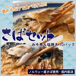 さば サバ 鯖 ノルウェー産原料 さばみそ煮 さば塩焼き 各2切入り(みそ煮80g 塩焼き60g) 各5パックセット 冷凍 送料無料 同梱不可|tsukiji-ichiba2